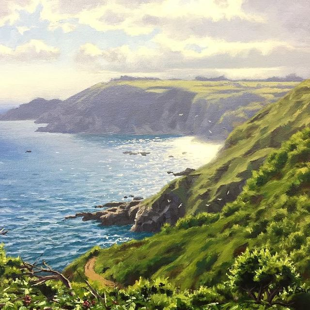 "image: Guernsey Cliffs, 10"" x 14"" oil on canvas  by samuel_earp_artist"