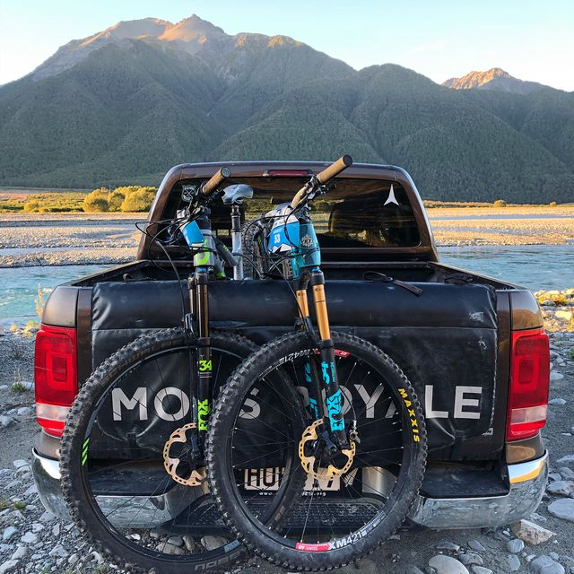 image: From one super reliable truck to another, it has been fun swapping the skis for a bike and racing down a few trails at @transnzenduro. I wish each ski run had a food station like this at the bottom. by murraycharles