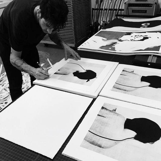 """image: signing editions today at @miscellaneous_press - tomorrow we release 3 new screen print editions of 23 each - two 22x28"""" & a diptych of two 17x17"""" - sale goes live at noon central via miscpress.com by jessedraxler"""