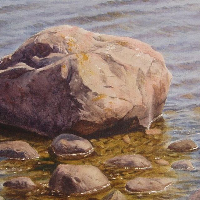 image: One of my first plein air paintings done in 2008 during my Båstad adventures. I remember going back for a second session the next day, finding a completely different water level. It's a good memory training being out in the open air. Watercolour, 31x23cm. by nickalmart