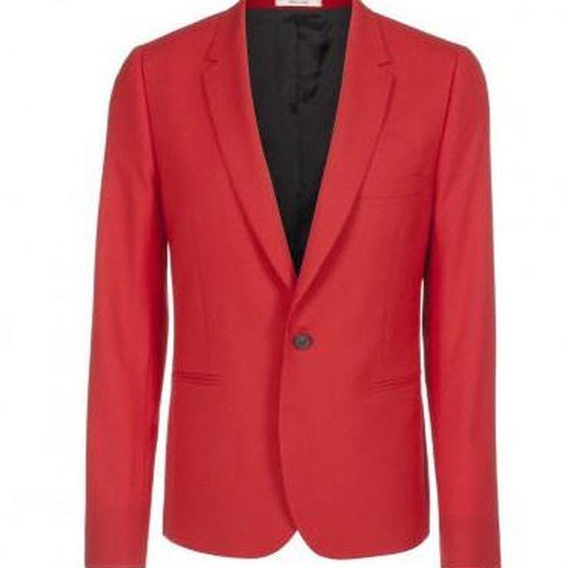 image: Men's red, slim-fit single button jacket by HermenegildoLupo