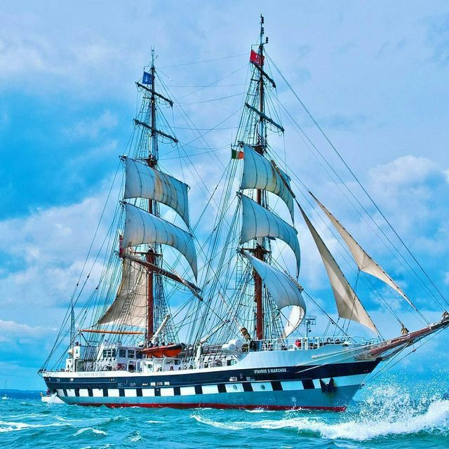 image: Stavros S Niarchos is a British brig-rigged tall ship owned and operated by the Tall Ships Youth Trust (TSYT). She is primarily designed to provide young people with the opportunity to undertake voyages as character-building exercises, rather than pure... by sailing_boats