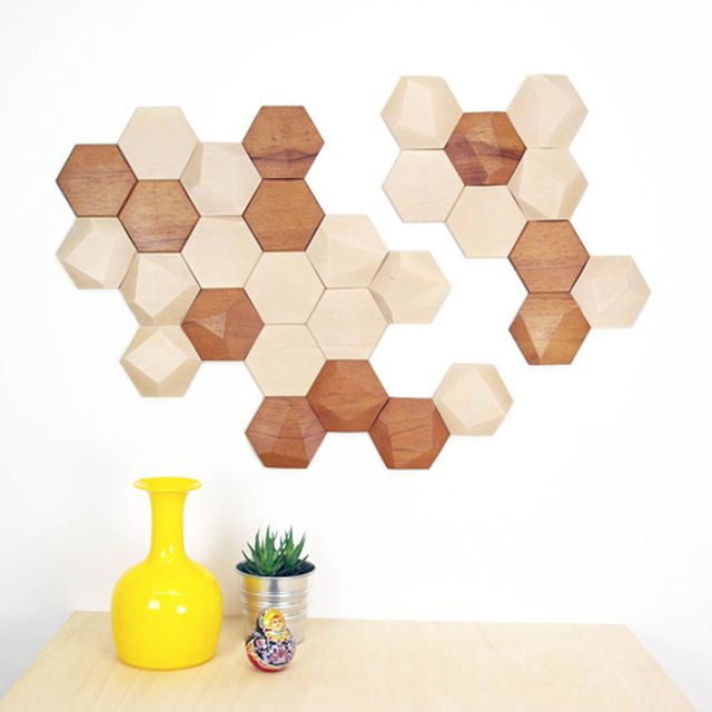 image: BeeApis, wooden tiles for wall decor by monoculodesign