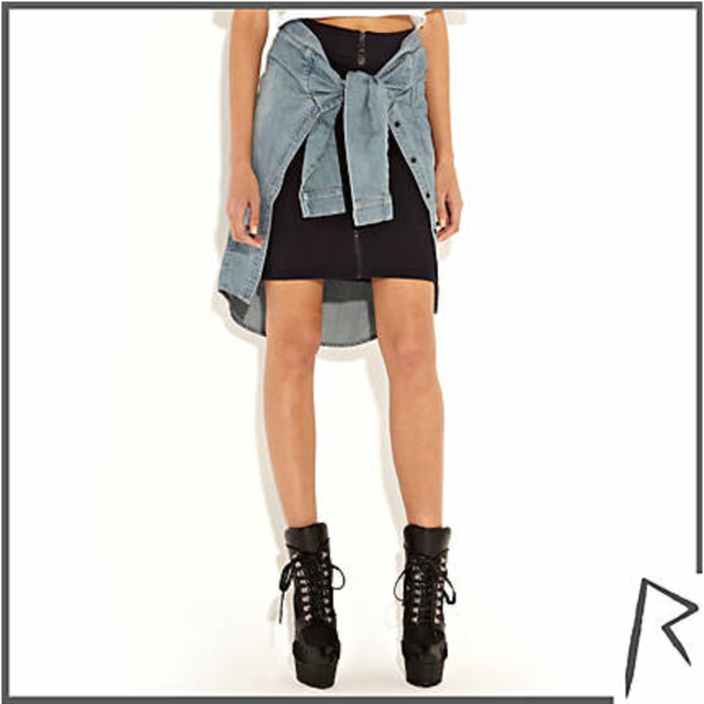 image: TIED DENIM SHIRT ZIP FRONT SKIRT by valentinasilva