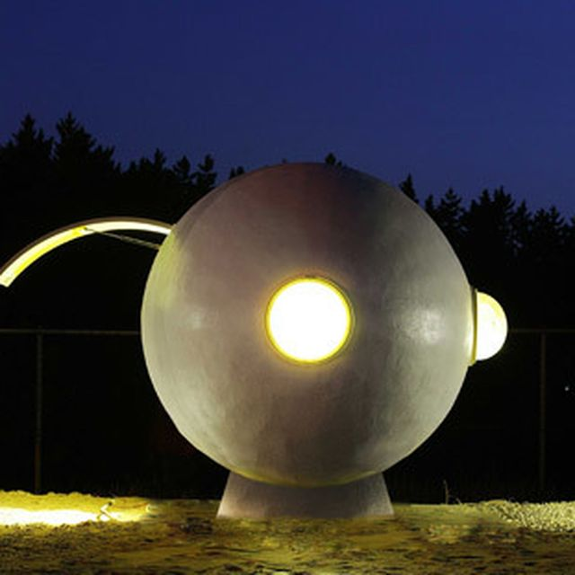 image: Mobile egg-shaped beach huts installed along a South... by hallowedbronze